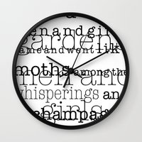 fitzgerald Wall Clocks featuring The Great Gatsby Movie Quote F. Scott Fitzgerald by FountainheadLtd