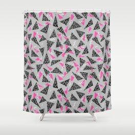 Trizza - triangle zig zag modern minimal trendy pattern print gender neutral non binary art for all Shower Curtain