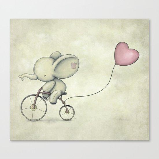 Cute Elephant riding his bike Canvas Print