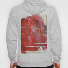 Reckless Abandon: a vibrant abstract mixed-media piece in red and gold by Alyssa Hamilton Art Hoody