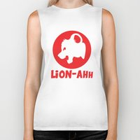 simba Biker Tanks featuring Lion-ahh by Mike Nieuwstraten