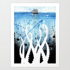 Kraken Watercolor Art Print