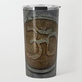 The sound of the Universe. Gold Ohm Sign On Stone Travel Mug