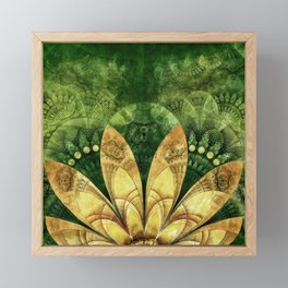 Goldenrod Yellow Feathers on Green Fractal Grass Framed Mini Art Print