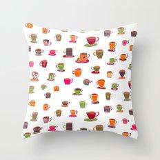 Coffee Cup Green & Orange Throw Pillow