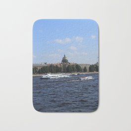 Passenger Boats on Neva River with dome of St. Isaac's Cathedral. Bath Mat