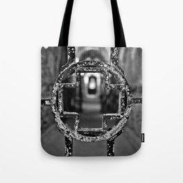 Prison Medical Ward Gate Cross - Black & White Tote Bag