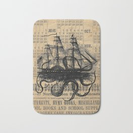 Octopus Kraken attacking Ship Antique Almanac Paper Bath Mat