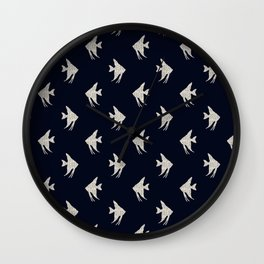 Navy blue maritime sea fish pattern Wall Clock