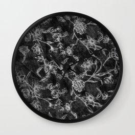 Flower Pattern (Black version) Wall Clock