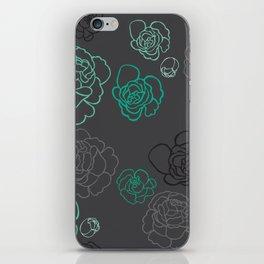 Aqua Peonies iPhone Skin