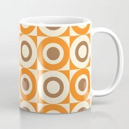 Mid Century Square and Circle Pattern 541 Orange and Brown Coffee Mug
