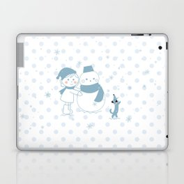 Happy snowman and a dog Laptop & iPad Skin