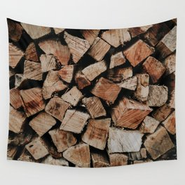 Chopped Firewood Stack Wall Tapestry