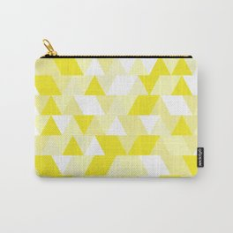 Simple Geometric Triangle Pattern - White on Yellow - Mix & Match with Simplicity of life Carry-All Pouch
