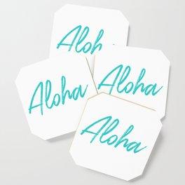Aloha in Tropical Blue Coaster