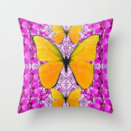 FUCHSIA COLORED  ORCHIDS &  YELLOW  BUTTERFLY FLORAL Throw Pillow