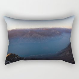 monte baldo garda lake italy drone shot aerial view sunset mountains dust Rectangular Pillow