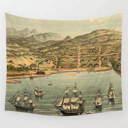Vintage Pictorial Map of San Francisco (1884)  Wall Tapestry