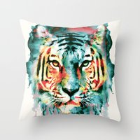 tiger Throw Pillows featuring TIGER by RIZA PEKER