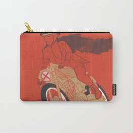 long hair girl riding a motorcycle Carry-All Pouch