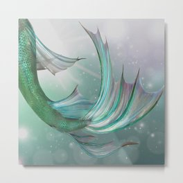 Mermaid, Ocean Sea, Pastel Purple,Teal, Green Metal Print
