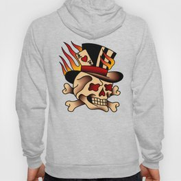 Fiery Top Hat Skull Hoody