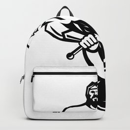 Typhoeus Holding Trident Mascot Black and White Backpack
