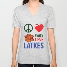 Peace Love Latkes Unisex V-Neck