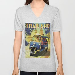 Thailand Vintage Travel Poster Commercial Air Travel Poster Unisex V-Neck