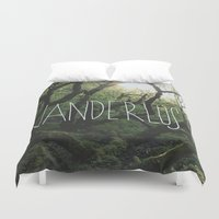 wanderlust Duvet Covers featuring Wanderlust by Leah Flores