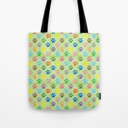 Colorful paw prints Tote Bag
