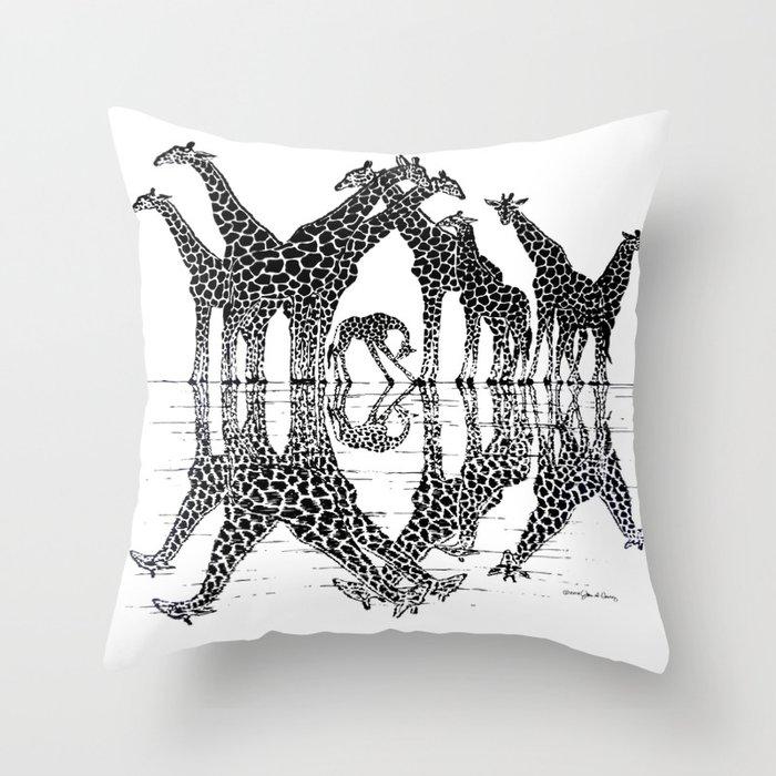 GIRAFFE RELFECTIONS Throw Pillow