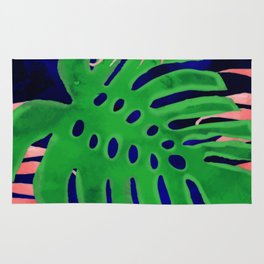 Plant green and coral Rug