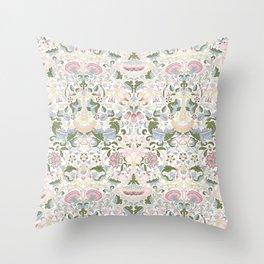 William Morris Pastel Pink Lotus Flower Pattern Throw Pillow
