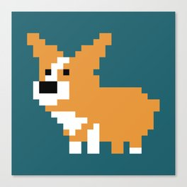 L'il 8-bit corgi Canvas Print