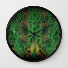 """Emerald and black peacock"" Wall Clock"