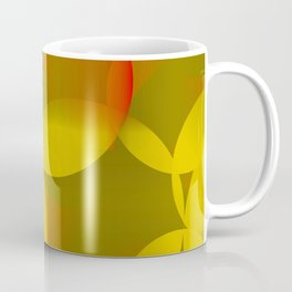 Abstract soap of lemon molecules and red bubbles on a yellow background. Coffee Mug