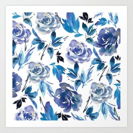 Royal Blue Garden 02 Art Print