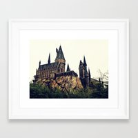 hogwarts Framed Art Prints featuring Hogwarts by Thomas Wright Illustration
