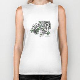 Zentangle Design - Black, White and Sage Illustration Biker Tank
