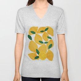 lemon mediterranean still life Unisex V-Neck