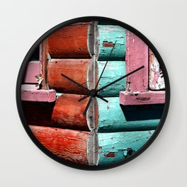 Turquoise and Red Wall Clock