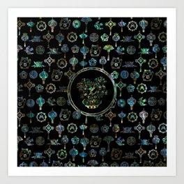 Decorative Chinese Money tree Abalone Shell Art Print