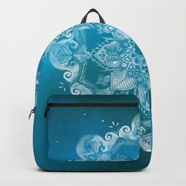 Floral Mandala in Blue Galaxy 04 Backpack