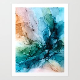 Salty Shores Abstract Painting Art Print