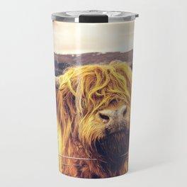 Highland Cow Nose Barbed Wire Fence Color Travel Mug