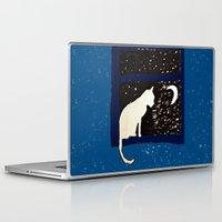ashton irwin Laptop & iPad Skins featuring White Cat by Brontosaurus