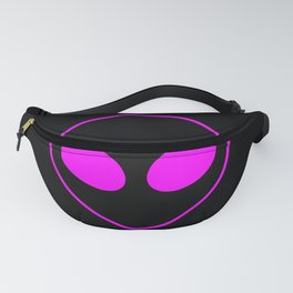 Bright Neon Pink Alien Head on Black Fanny Pack