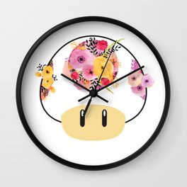 Toad in Bloom - White Background Wall Clock